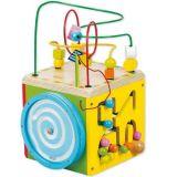 Dřevěné hračky Motorické hračky - Dřevěná motorická kostka žlutá Classic world