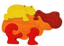 Dřevěné hračky Fauna Dřevěné vkládací puzzle z masivu hroch oranžový
