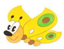Dřevěné hračky DoDo Střední dřevěná dekorace motýl žlutý