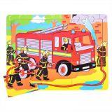 Dřevěné hračky Bigjigs Toys Dřevěné puzzle hasiči 9 dílků
