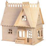 Dřevěné hračky Woodcraft Dřevěné 3D puzzle dům s terasou Woodcraft construction kit