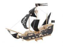 Dřevěné hračky Dřevěná skládačka - Pirátská loď P217 Woodcraft construction kit