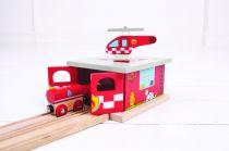 Dřevěné hračky Bigjigs Rail Depo hasičská stanice