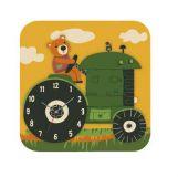 Dřevěné hračky RoboTime 3D puzzle hodiny se strojkem traktor