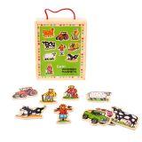 Dřevěné hračky Bigjigs Toys Dřevěné magnetky farma 20ks