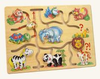 Dřevěné hračky Bino Motorický labyrint najdi hlavu zvířátka