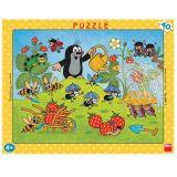Dřevěné hračky Dino Papírové puzzle Krtek v jahodách 40 dílků