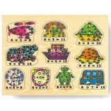 Dřevěné hračky Dřevěné vkládací puzzle matematika počítání do 15 Vkládačky