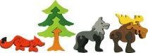 Dřevěné vkládací puzzle z masivu - Sada lesní zvířátka 4 ks
