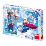 Dino puzzle Frozen zimní radovánky 3x55 dílků