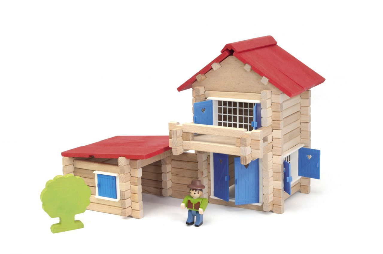 Dřevěné hračky Jeujura Dřevěná stavebnice 140 dílů Domeček