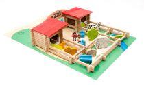 Dřevěná stavebnice Jeujura - 160 dílků - Zoo