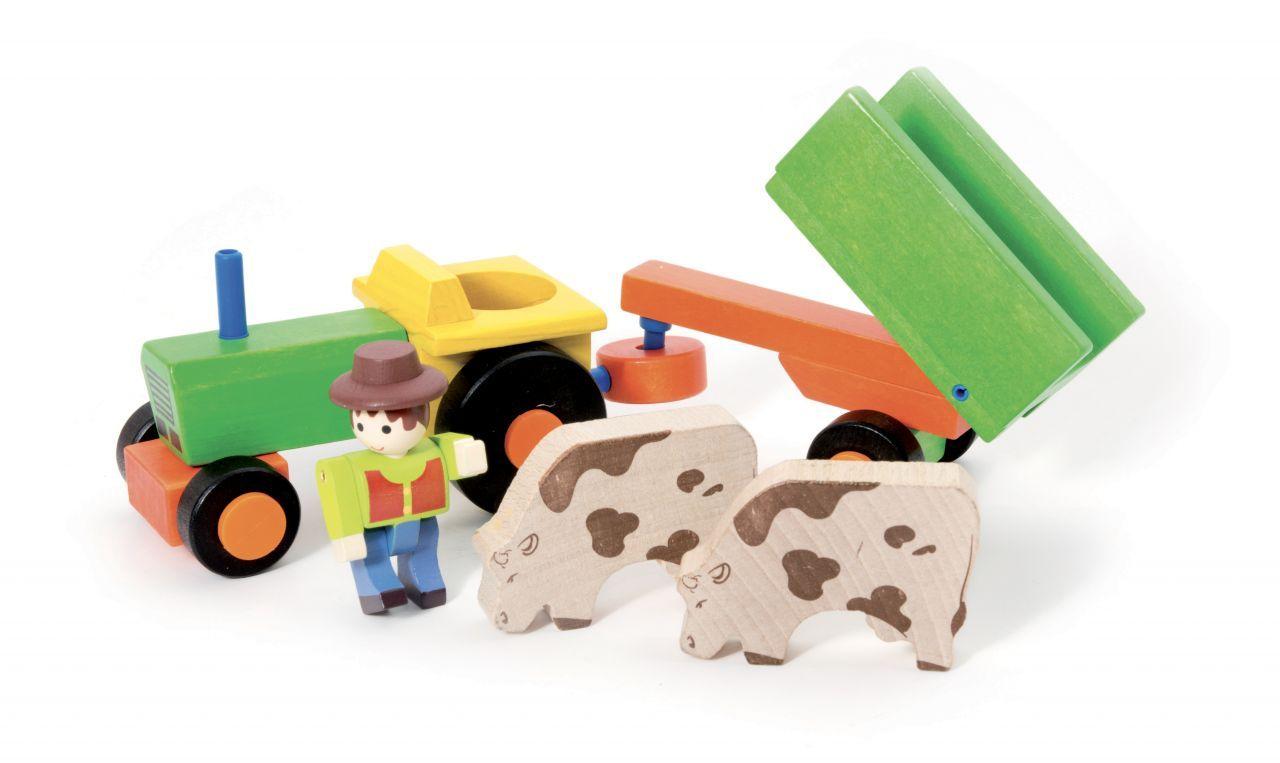 Dřevěné hračky Jeujura Dřevěný traktor s vlečkou