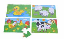 Puzzle dřevěné Zvířátka z farmy 4v1