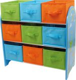 Dřevěná úložná policena hračky s 9 boxy