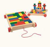 Dřevěné hračky Woody - Vozík s kostkami malý - 34 dílů