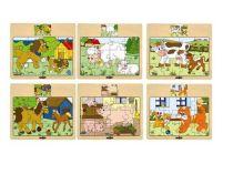 """Dřevěné puzzle na desce """"Mašinka"""" - zvířata s mláďaty"""