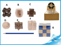 Dřevěný hlavolam  hnědý kříž C