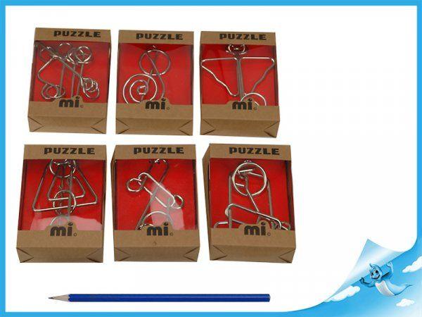 Dřevěné hračky Hlavolam kovový 6 různých druhů 1 ks Mikro Trading