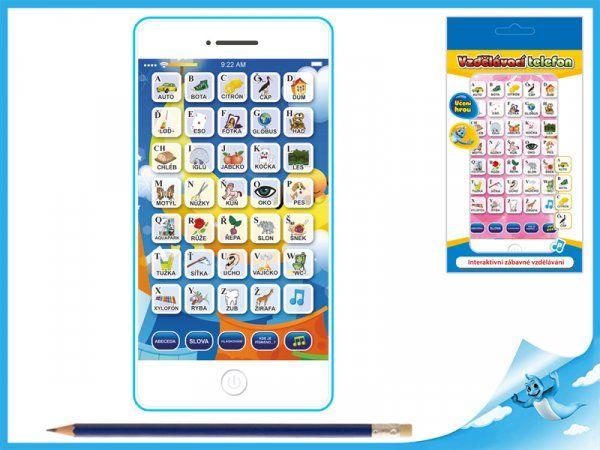 Dřevěné hračky Interaktivní vzdělávací telefon mluvící česky modrý Mikro Trading