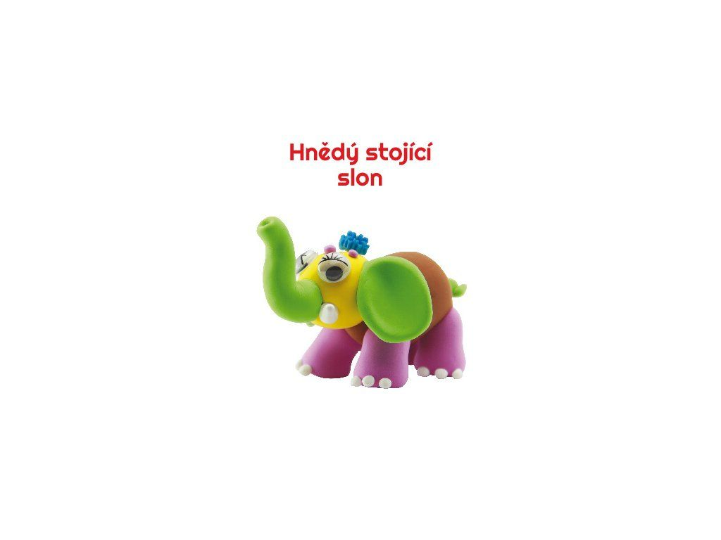 Dřevěné hračky Paulinda modelovací hmota Baby Elephant - hnědý stojící slon Mikro Trading