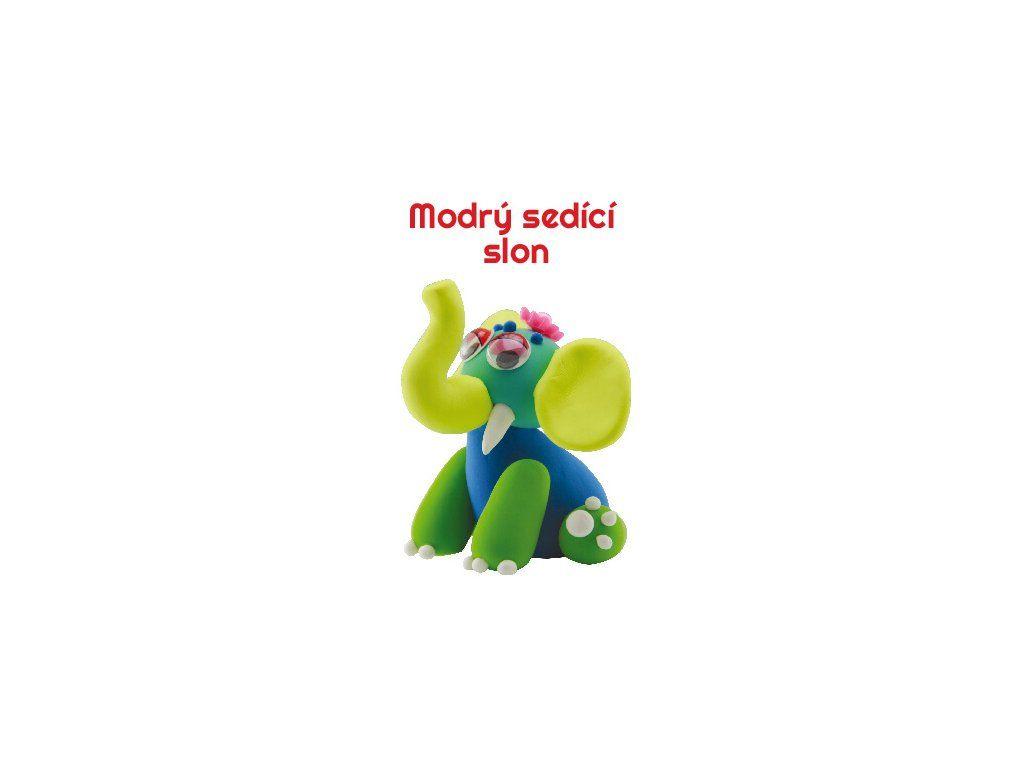 Dřevěné hračky Paulinda modelovací hmota Baby Elephant - modrý sedící slon Mikro Trading