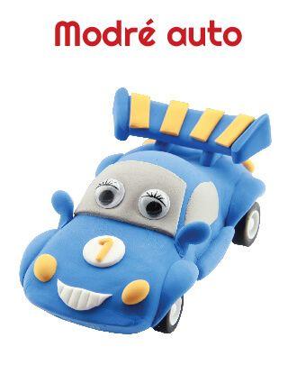 Dřevěné hračky Paulinda modelovací hmota Racing Time auto - modré Mikro Trading