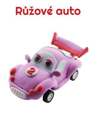 Dřevěné hračky Paulinda modelovací hmota Racing Time auto - růžové Mikro Trading