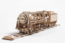 Ugears dřevěná stavebnice 3D mechanické Puzzle - Parní lokomotiva s tendrem