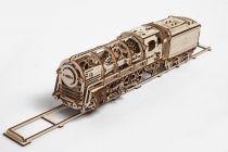 Dřevěné hračky Ugears Dřevěná stavebnice 3D mechanické Puzzle Parní lokomotiva s tendrem