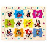 Bino Dřevěné puzzle Krteček tvary 24 dílků
