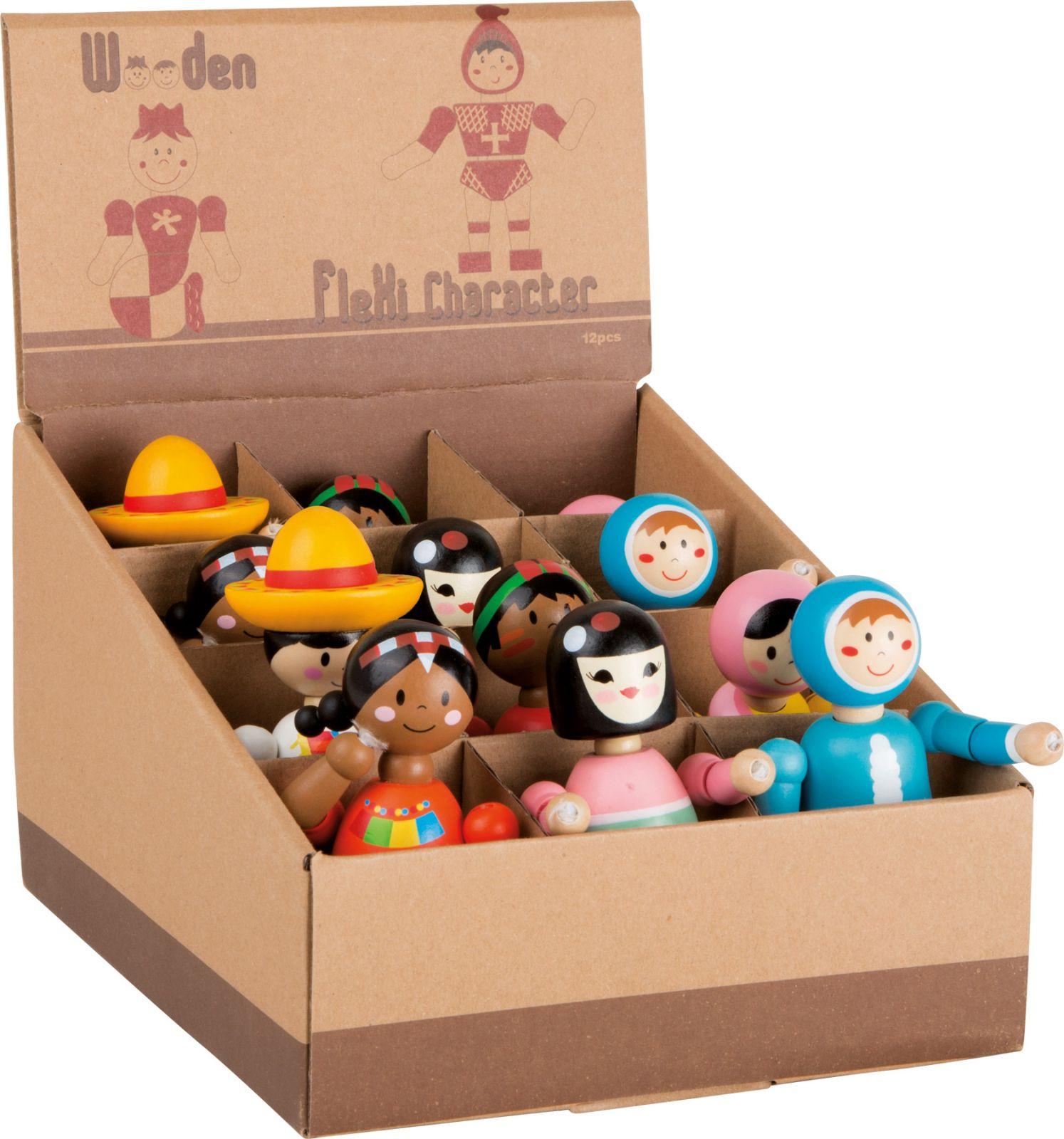 Dřevěné hračky Displej dřevěné mačkací figurky lidé všech národností 12 ks Small foot by Legler