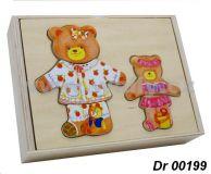 Vkládačka dřevěná oblečení - medvědice s medvídětem