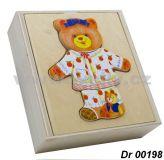 Vkládačka dřevěná oblečení - medvídek