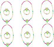 Displej - Dřevěné šperky se sovou, zelené 12 ks