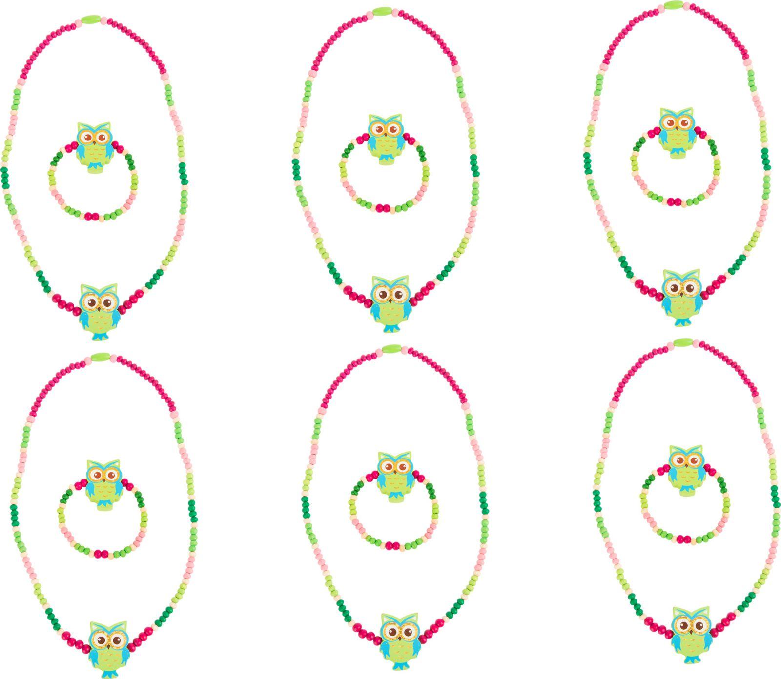 Dřevěné hračky Displej - Dřevěné šperky se sovou, zelené 12 ks Small foot by Legler