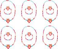 Small Foot Dřevěné šperky se sovou růžové 2 ks