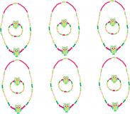 Small Foot Dřevěné šperky se sovou zelené 2 ks