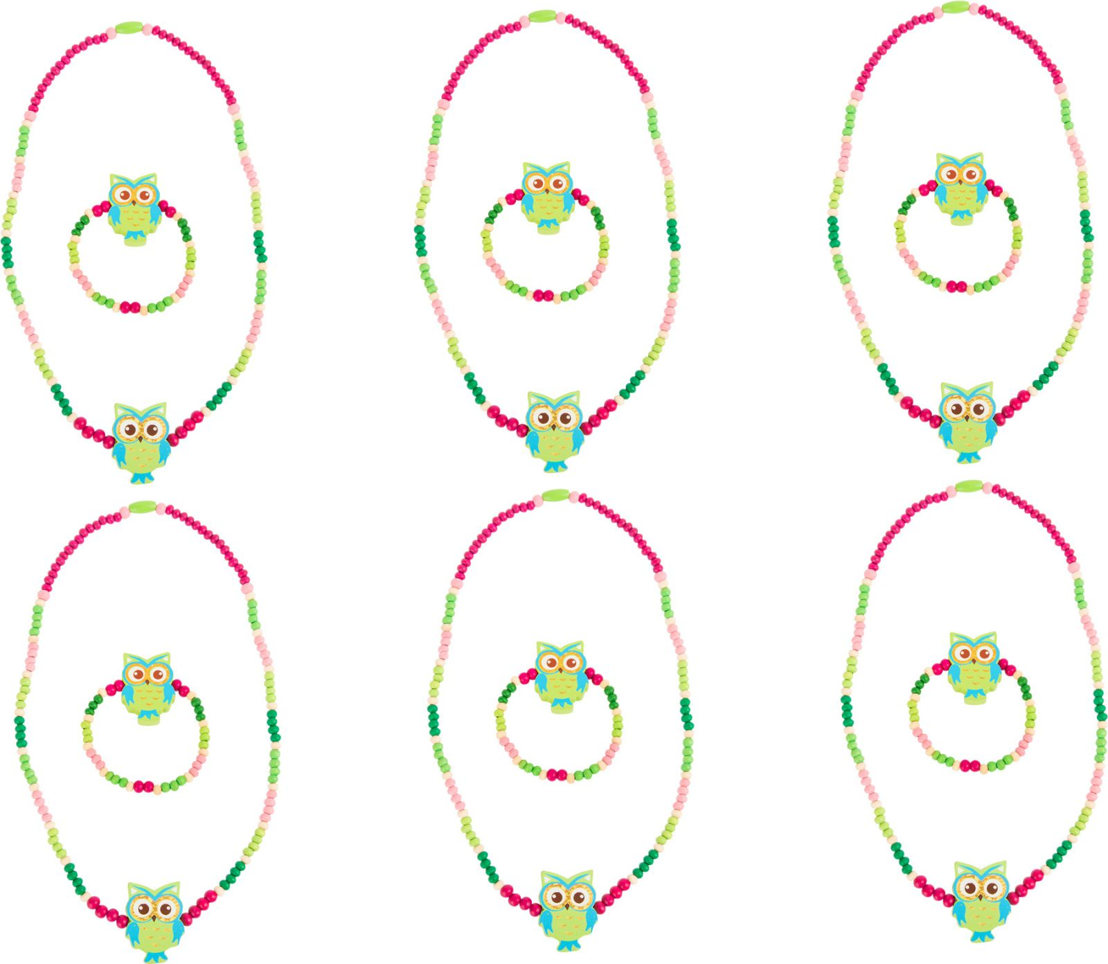 Dřevěné hračky Dřevěné šperky se sovou, zelené 2 ks Small foot by Legler