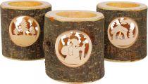 Dřevěný svícen Nature 3 ks