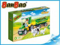 BanBao stavebnice - Eco Farm - farmářský traktůrek s vlečkou 115ks + 1 figurka ToBees