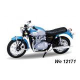 Welly - Motocykl Triumph Bonneville (2002) model 1:18 světle modrý