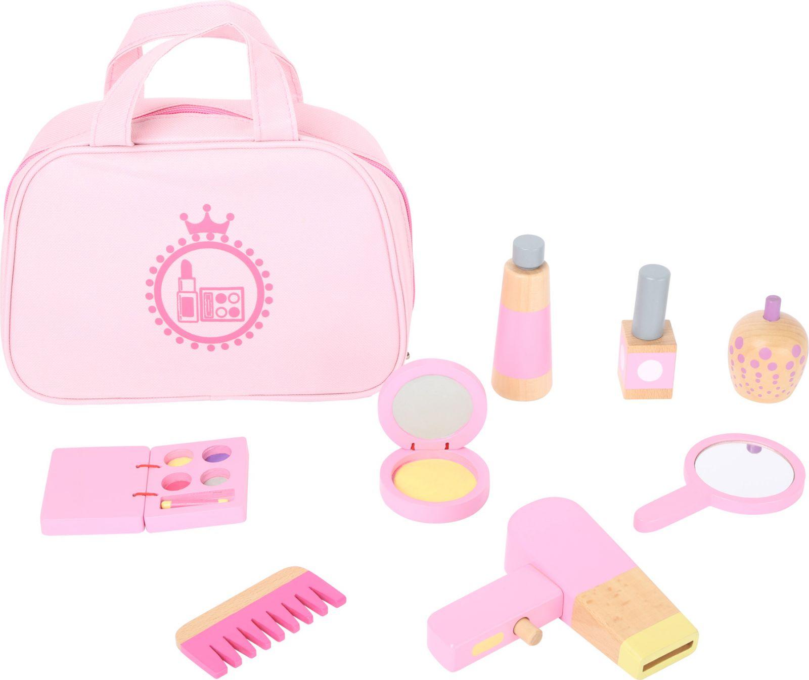 Dřevěné hračky Dětská kosmetická taštička růžová s dřevěnými doplňky Small foot by Legler