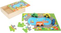 Dřevěné puzzle doprava s autíčky 2v1