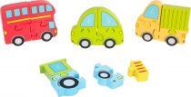 Small Foot Dřevěné puzzle dopravní prostředky 4v1