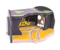 Dřevěné hračky Bigjigs Rail Tunel s výhybkou jeskyně lebka
