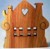 Dřevěné dekorace - Dřevěný svícen - Chaloupka ovocné dřevo