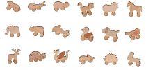 Dřevěná hračka na kolečkách, různé druhy   kočka