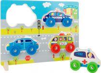 Small Foot Dřevěné vkládací puzzle auta