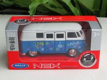 Welly - Volkswagen T1 Bus (1963) model 1:34 modrý love